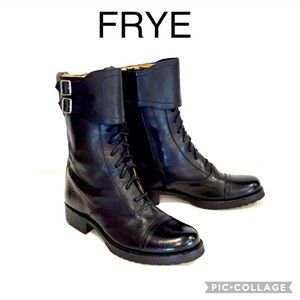 FRYE Julie Shield Combat Boots Black Size 8.5